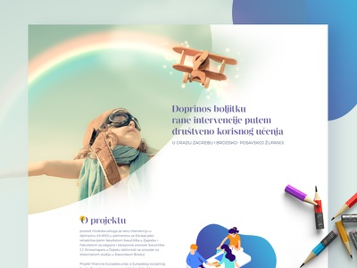 Association of Early Childhood Intervention social child header yellow psd blue green purple kids web page landing