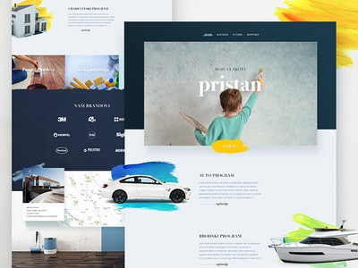 Paint business web clean minimal typography corporate business brush website landing header web paint colours