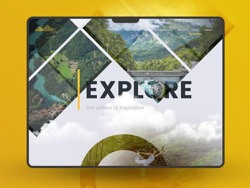 Explore the nature hotel yellow dashboard ui photoshop web header webdesign health yoga clouds nature explore
