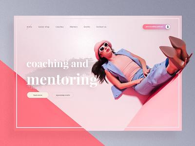 Business Coaching mentoring agency podcast finance ux ui woman pink web webdesign header desktop coaching business