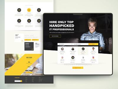 hiring marketplace webdesign ux ui freelance corporate yellow header professional it landing web craigslist marketplace
