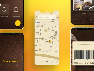 Bakery rewards app food wood map uiux ux ui ios android mobile photoshop app yellow bakery