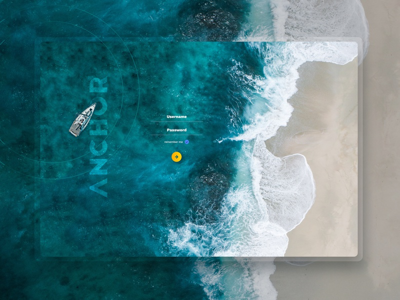 Login screen ios photoshop tablet app ux ui branding berth sea sailing boat anchor marina