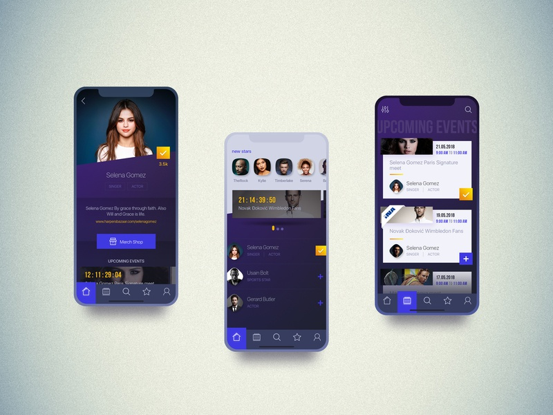 Penkala app photoshop search events menu feed celebrity ui profile list yellow social mobile uiux purple app