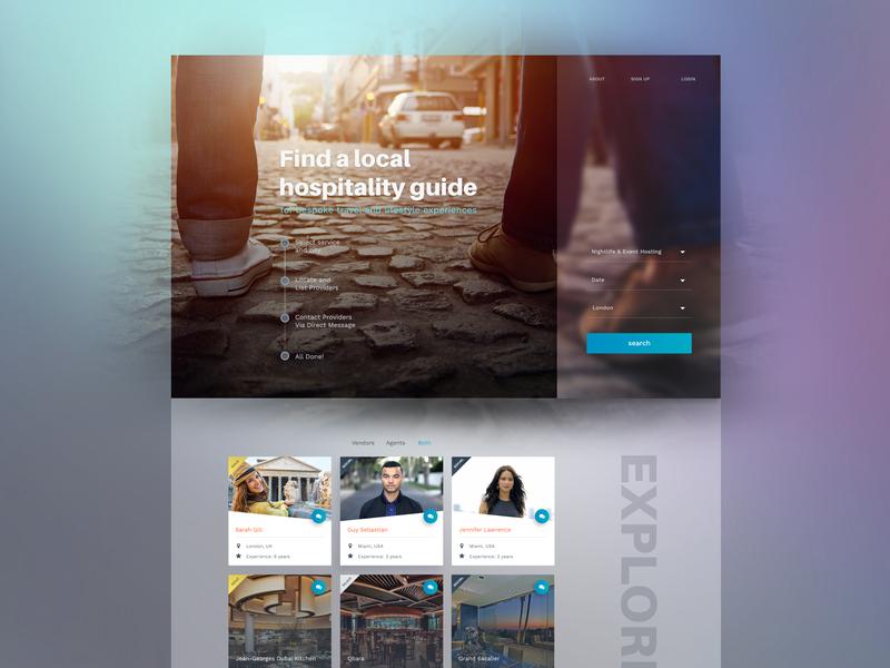 Hospitality Guide Website purple header ux ui landing page website travel guide hospitality