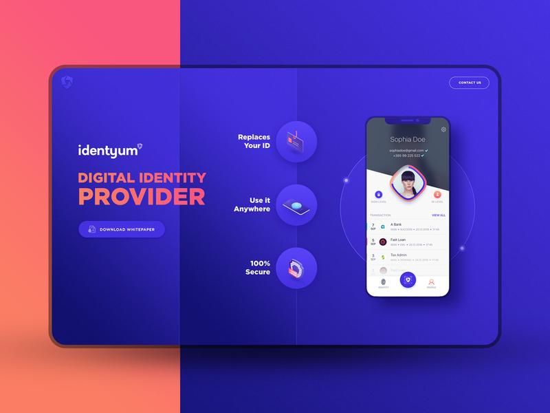 Identyum Landing PAge illustration ux purple ios branding dark mobile home header orange blue website landing web app identyum