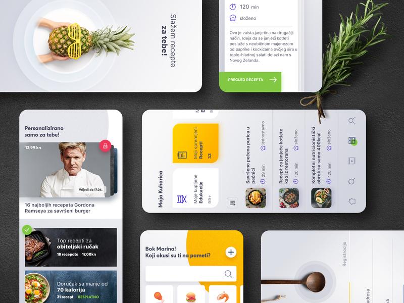 Recipes social app cookbook list yellow psd android ios recipe travel mobile social app food