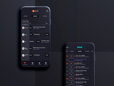 TV channels app red ux ui show cartoons movies list dark ios android psd app channels tv