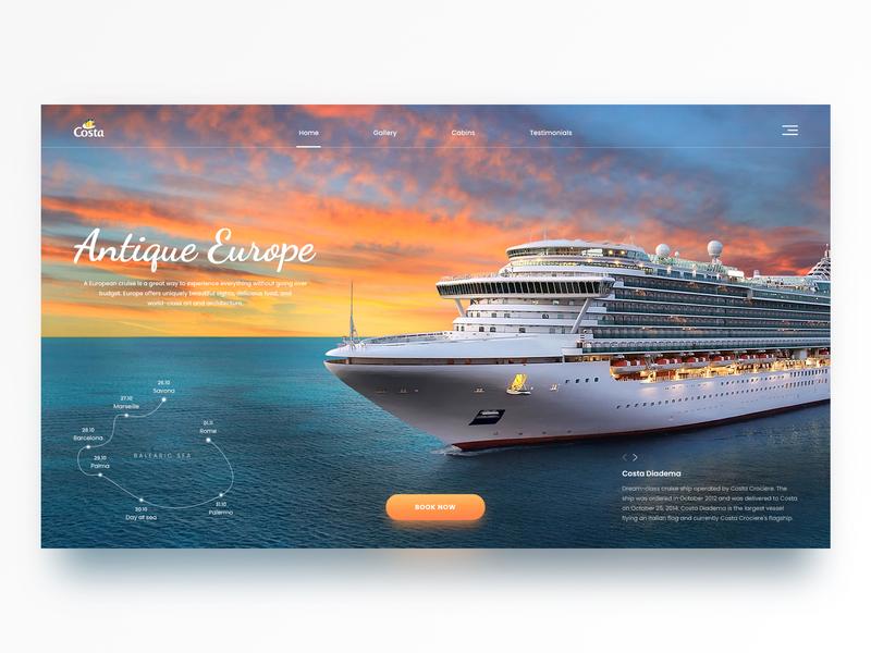Cruise Promo Page daily dailyui web mainpage landing page europe website ux shot webdesign cruise