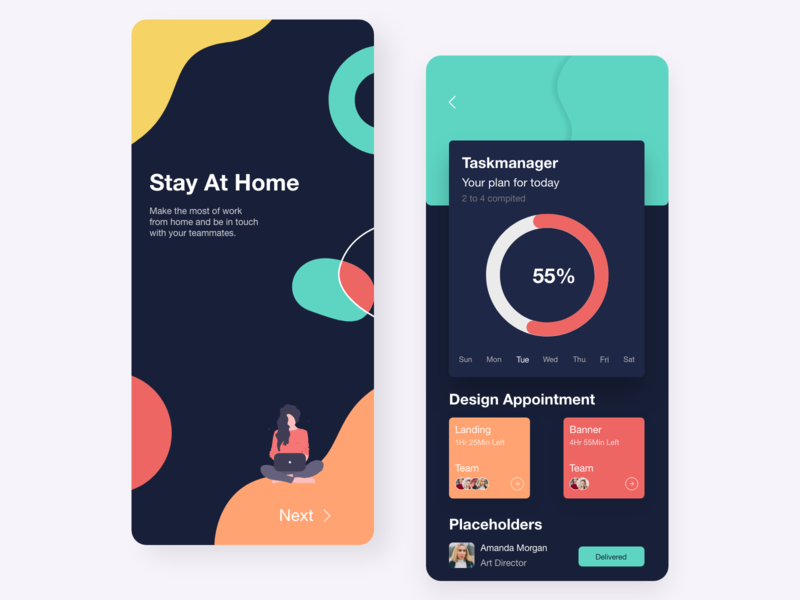 Stay at home ( Dark Mode ) dark theme dark app dark mode dark ui dark mobile app design mobile design mobile app mobile ui mobile tbilisi pantone branding ux ui web design ui design adobe xd web concept ux design