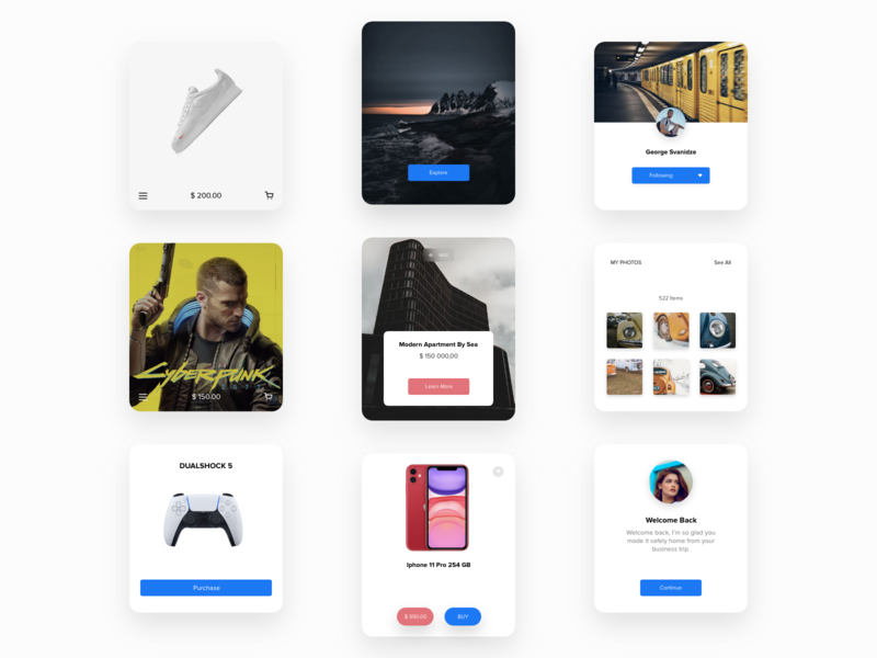 Card UI label logo layout landing page motion mobile ui cards ui cart card mobile typography design tbilisi ux ui web design ui design adobe xd web concept ux design