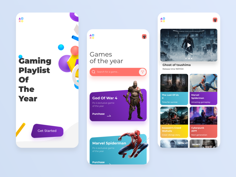 Ps 4 Game App product design branding landing page typography app mobile app mobile ui modern motion mobile game tbilisi design ux ui web design ui design adobe xd web concept ux design
