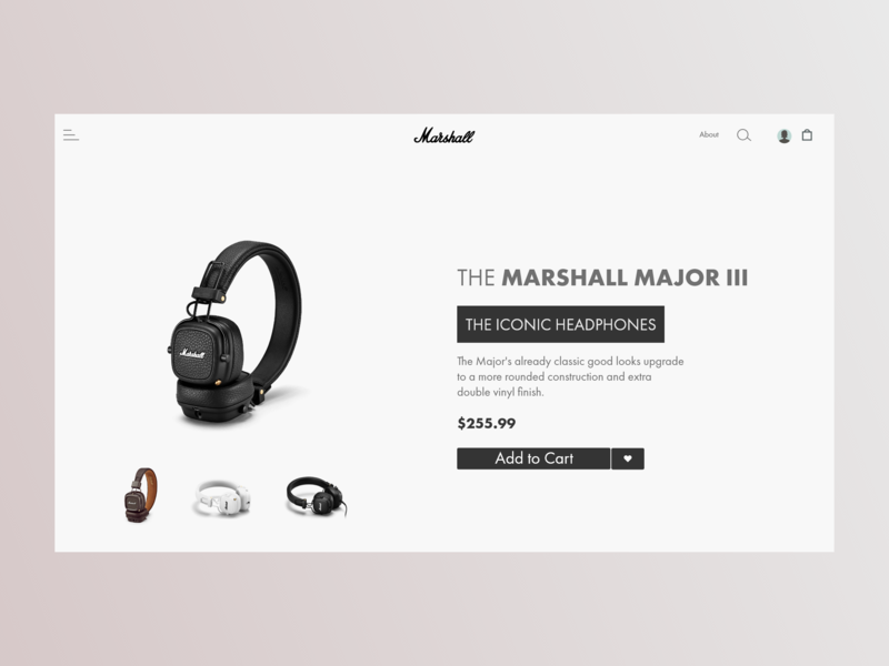 Marshall Major III Web design minimal art minimal app minimalism color vector art vector adobe illustrator adobe xd icons logo pantone ux challenge ux design ux  ui ux web design web concept web ui artist uidesign