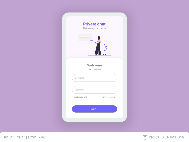 DailyUI | Private chat | Login Page | Mobile ui illustration design app