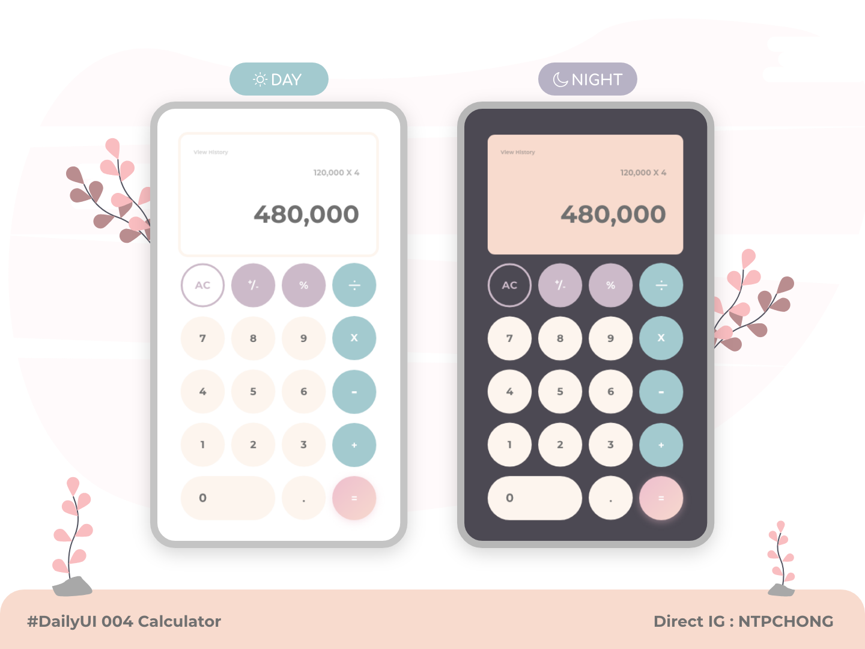 DailyUI | Mobile | Calculator minimal flat illustration ux app ui design