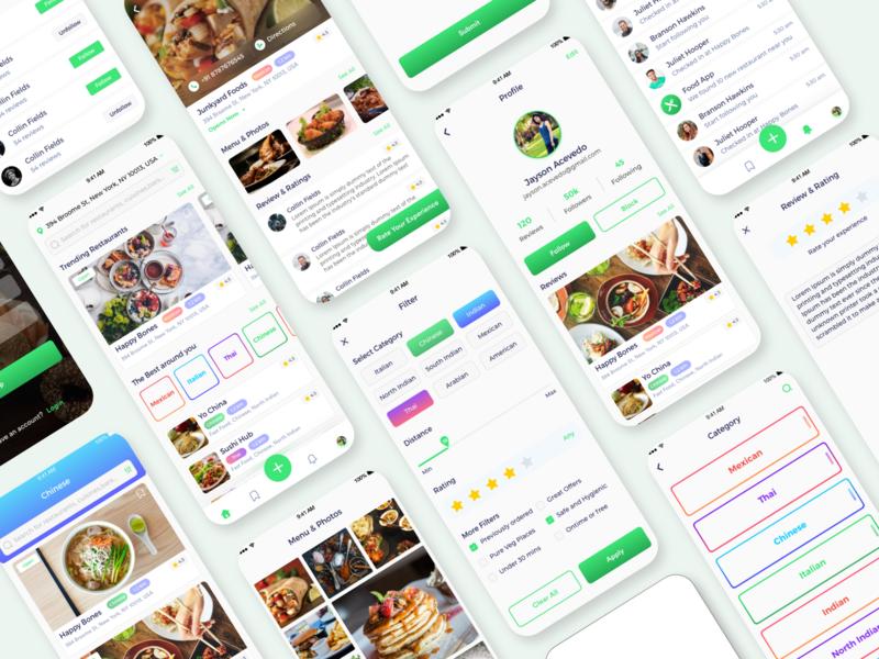 Food Delivery App Ui Kit greens restaurant catagory cake profile adobexd adobe designoweb application menu notifcations cart green light uiux app design app foodapp