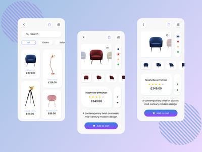 Furniture App UI-E-commerce uiux product texture trend ui design add to cart modern design cart furniture blue creative ux designoweb design e-commerce design e-commerce shop app design ui app