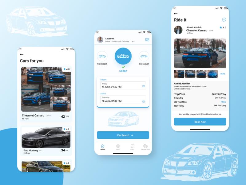 Car Rental Ui creative design developer application sedan uiux rental notifications webdesign appdesign web clean car blue ui ux gradient designoweb