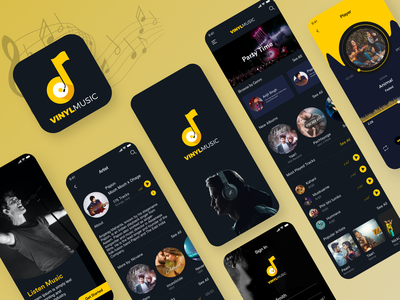 Classy Music App Ui photoshop creative illustration ux artist player playlist dark theme dark design musicapp uiux clean design clean yellow logo designoweb