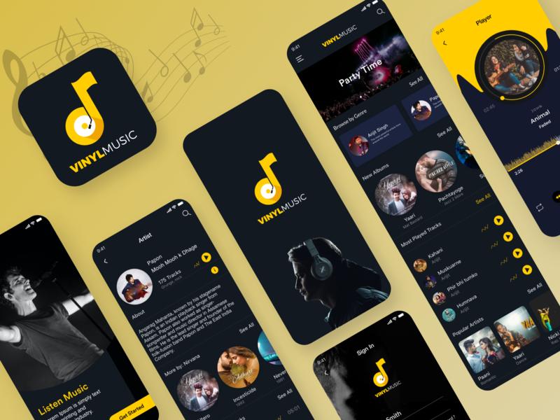 Classy Music App Ui photoshop creative illustration ux artist player playlist dark theme dark design musicapp uiux clean design clean yellow logo designoweb