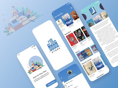 Book store Application UI designowebtechnologies illustrations simple design booklet clean ui logo creative notification chats orders store profiles categories bookapp blue clean design clean ux ui design