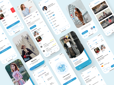 Ecommerce App UI bluetheme mobileui minimal logo branding apparel typography services notifications icon adobe illustrator appdesign clean design theme xdadobe adobe ux illustration designoweb