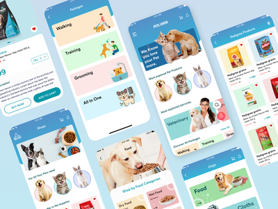 Pet Services Application UI Design creative services illustration gradient ux ui designoweb mobile app design mobile design mobile app mobile ui pets
