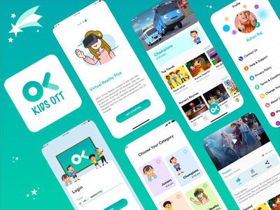 Oye Kids - VOD Platform for Kids web design mobile app design gradient ux ui illustration designoweb