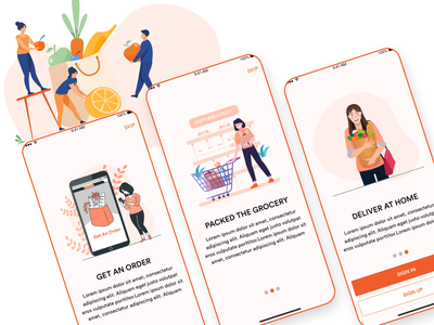 Grocery Delivery App Concept mobile application mobile ui uidesign ui  ux mobile app design designoweb