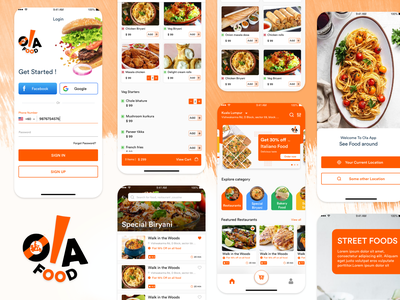 Ola Food - Food Delivery Application UI Design mobile app development mobile application mobile app mobile ui uiux uidesign food app designoweb