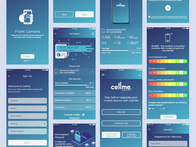 Cellme - An automated phone testing Application UI minimal clean app illustration creative design ux ui gradient designoweb