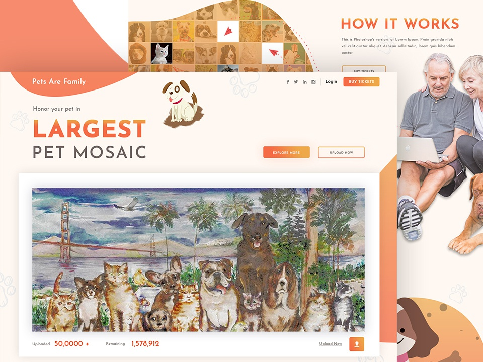 Pets Are Family - Mosaic Web Design pet mosaic pet website ux ui photoshop web typography vector branding design illustration