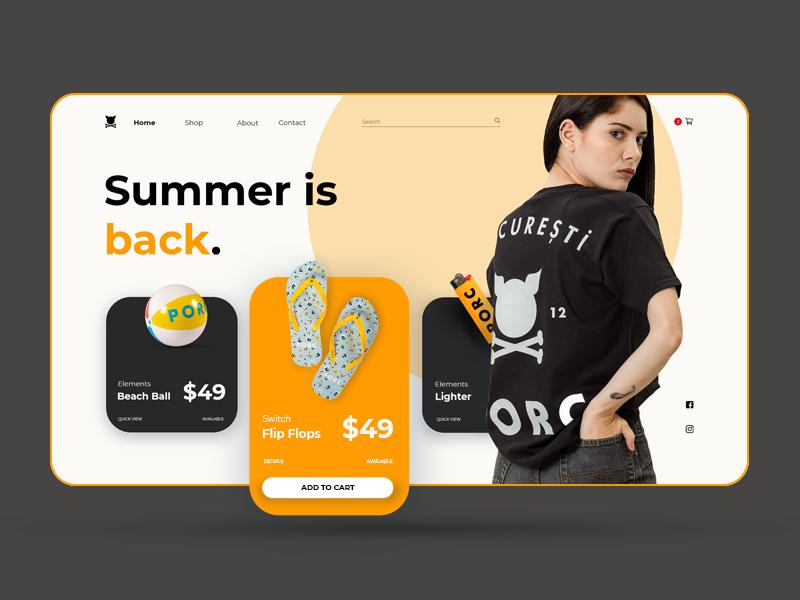 PORC - Clothing brand UI clothing design minimal ui