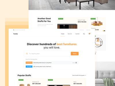 Fumio - Furniture Shop Landing Page Exploration orange web design landing page ui minimalist shop ecommerce interior furniture clean