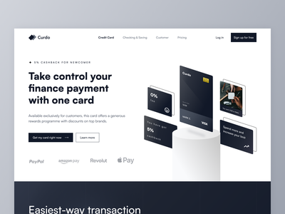 Curdo - Credit Card Services Landing Page ux design online banking money landing page credit minimalist website web dark banking payment clean ui cards card fintech bank credit card finance