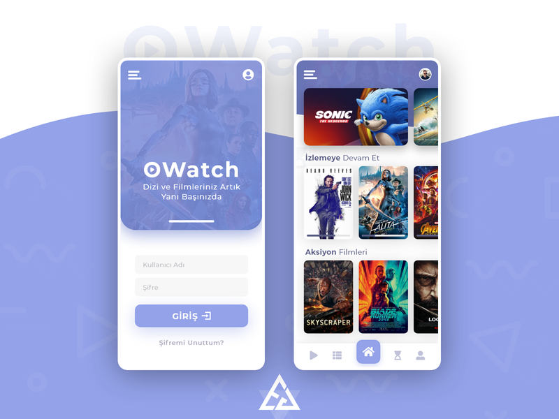 OWatch - Movies and TV Shows App Design ux series online illustration graphic ui photoshop interface mobile app design movies tv shows movies app mobile app
