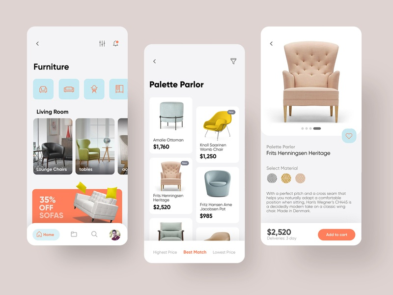Mobile App Redesign Furniture sofar interface interior furniture ui application uiux app