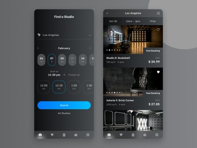 FD Photo Studio – Mobile App web ux ui trend top search popular photo studio mobile ui mobile app minimal material design ios interface filter ui figma dark ui calendar ui booking system android