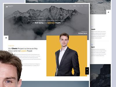 Richard Harris Coaching material promo one landing business coaching yellow interface design web ux ui