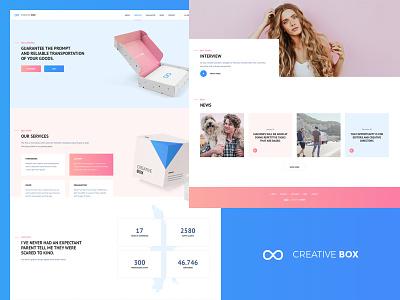 Creative Box responsive parallax promo mobile box cargo pink ux ui landing web
