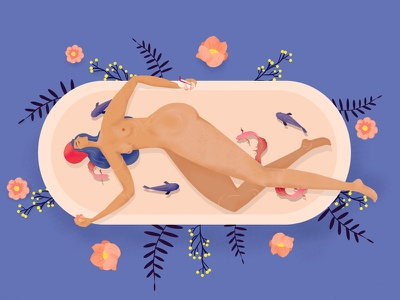 In my bath bath blue maisonbernie graphicdesign graphic graphisme graphism photoshop digitalart art illustration