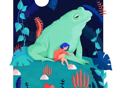 Un crapaud à minuit poésie crapaud toad illustration digital graphic  design graphic arts digitalart design art matière illustrator pastel graphic dessin maison bernie photoshop illustration graphisme