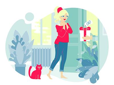 Surprised - version2 cat presents gift girl adobe illustration website online giftshop