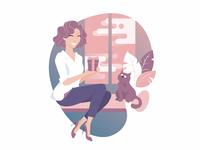 Happy girl with cat