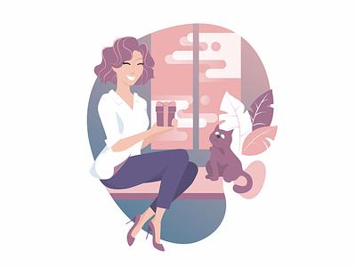 Happy girl with cat sketch adobe illustrator illustration present gift home cat happy girl