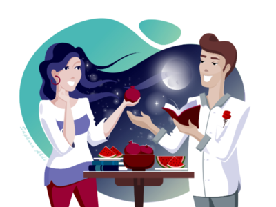 yalda night illustration art ui ux