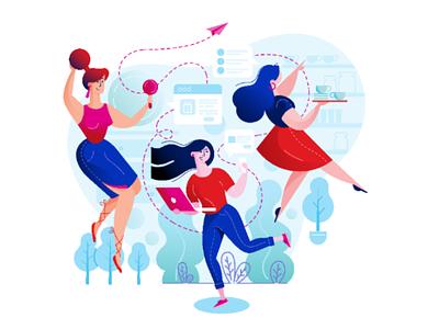 3 happy Girls , designed for an online gift shop website happy girls girl make up mirror gift illustration ux ui