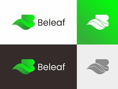 beleaf green logo leaf logo leaf letter b logo letter b b branding vector brand symbol icon design logo