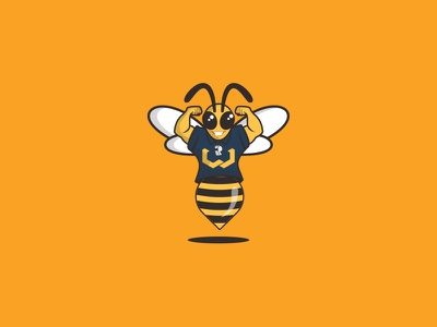 Mr Bee gym fitness logo wings tech entertainment app cyborg flying mascot bee