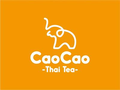 Cao cao thai tea Logo elephant thai tea line branding animal brand symbol icon design logo